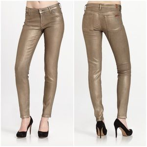 7 FOR ALL MANKIND 26 Skinny Jeans Gold Metallic